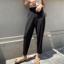 2019 новый корейский высокой талией свободные брюки женские летние трикотажные гарем брюки с высокой