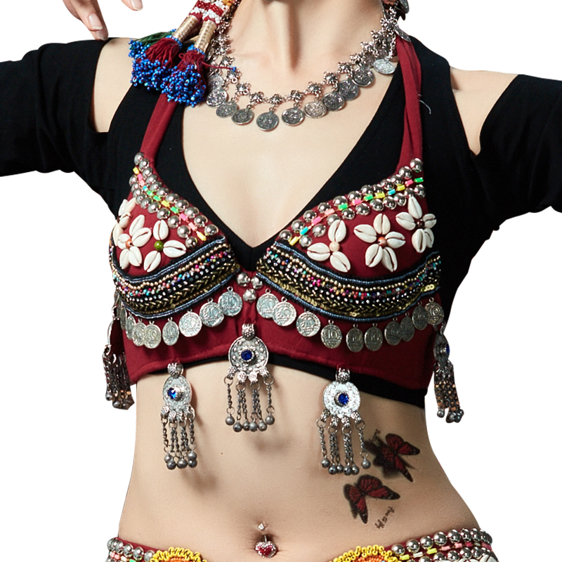 New 2018 ATS Tribal Belly Dance Bra Tops Push Up Beaded Bra B/C Cup Vintage Coins Top Gypsy Dance Bra (without Choli)