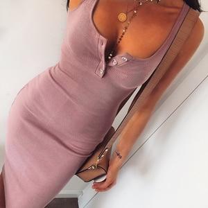 Image 4 - WannaThis Knee Length Dress Knitted Elastic Sleeveless Bodycon elegant Women 2019 Summer Sexy V Neck Button Party Slim Dresses
