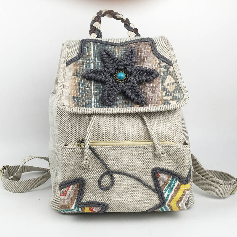 Fashion Featured Ethnic Women Linen Backpack Hand woven Embroidery Wax Thread Hand knitted Bagpack Girl Holiday