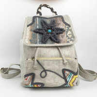 Fashion Featured Ethnic Women Linen Backpack Hand-woven Embroidery Wax Thread Hand-knitted Bagpack Girl Holiday Elegant Gift Bag