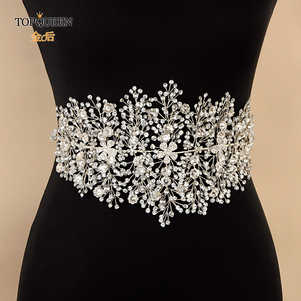TOPQUEEN SH240 Wedding Dress Accessory Silver Belt For Dresses Bridesmaid Rhinestone Alloy Flower Belt  For An Evening Dress