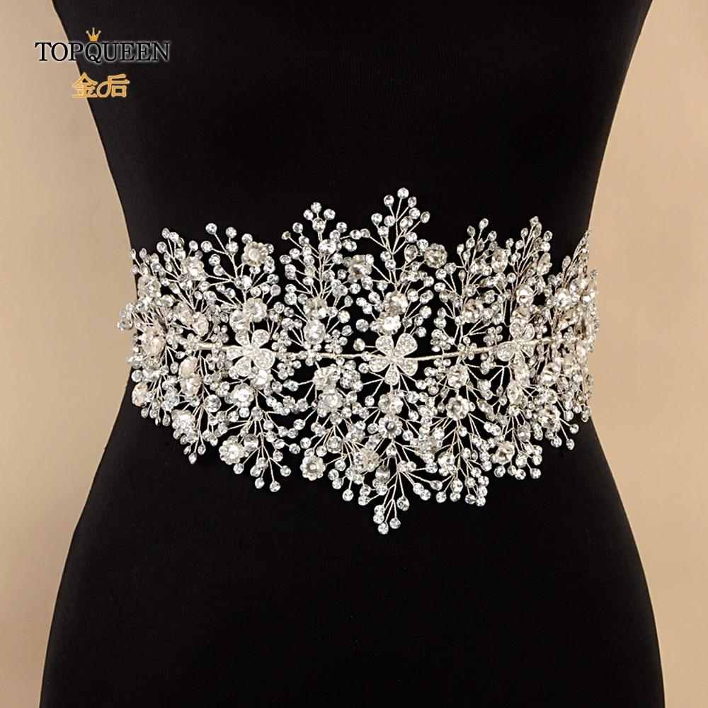 TOPQUEEN SH240 Wedding Dress Accessory Silver Belt For Dresses Bridesmaid Rhinestone Alloy Flower Belt  For An Evening Dress