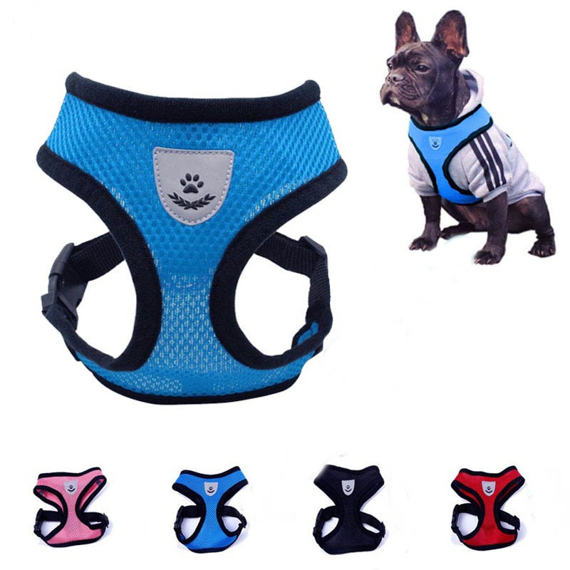 Dog Harness Dog Adjustable Breathable Dog Cat Collar Mesh Vest Harness for Dos Puppy Pet Chihuahua Chest Strap Dog Accessories