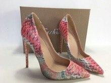 Keshangjia Donne scarpe A Punta Pompe Lady Wedding Party Shoes Cuoio Serpentine Partito Tacchi Alti