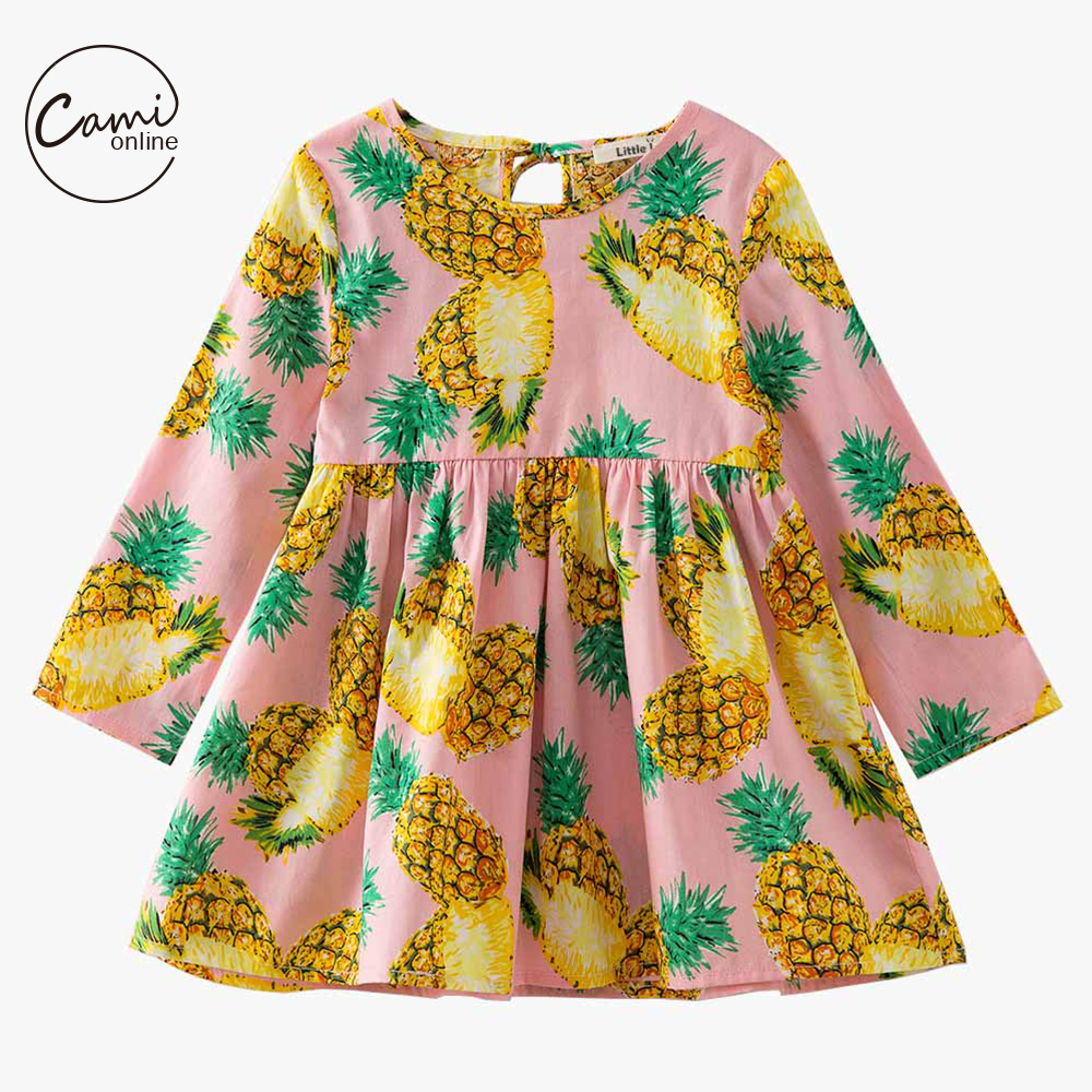 Pineapple Printed Girls Party Dress Spring Autumn Long Sleeve Sunflower Summer Princess Dress Princess Casual Costume Clothes uoipae party dress girls 2018 autumn