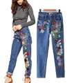 Women Fashion Embroidery Flower Pattern Long Jeans Fall Boho Ripped Vintage Women'S Denim Jeans Long Trousers Straight Jeans