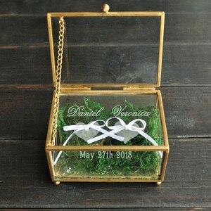 Image 4 - Niestandardowy obrączka na okaziciela, spersonalizowany ślub pudełko na pierścionek szklane pudełko geometryczny szklany pierścień pojemnik na pudełko, spersonalizowana biżuteria Box