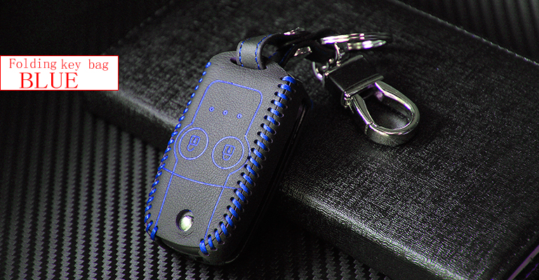 Valódi bőr autó intelligens / összecsukható kulcs tok Fob fedél - Autó belső kiegészítők - Fénykép 3
