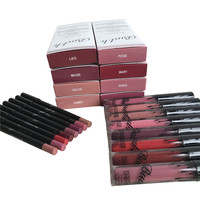 new liquid matte lipstick lips pencil makeup lasting waterproof Mate lip gloss rouge a levre cosmetics lip kit batom 16pcs/8set