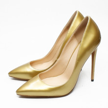 Dropshopping Office Shoes Women Pump Fashion High Heel Genuine Leather Pointed Toe Classic Gold Ladies Pumps Big Size D005C