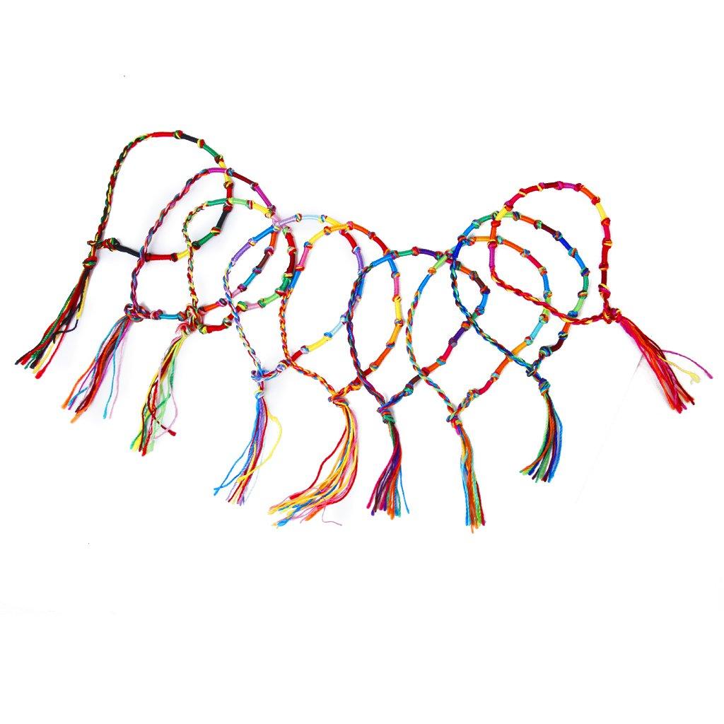 9 x Hippie Style Colorful Braided Friendship Bracelets Thread Wrist Ankle Bracelet Random Color--Knurled