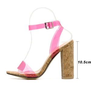 Image 3 - Kcenid Candy colors sexy PVC new womens sandals open toe pumps womens summer shoes wood high heels ankle strap sandals green