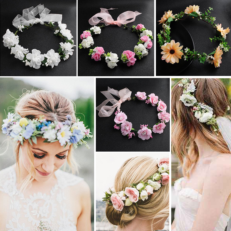 2pcs Headband Flowers Wreath Garlands Floral Hairbands Wedding Headwear