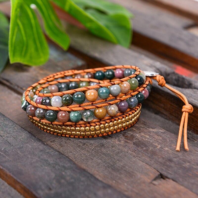 Drop Verschiffen Dreibettzimmer Leder Wickelarmband für Frauen Fancy Stein Handgemachte Mehrschichtige Mala Perlen Leder Schmuck frau Mode