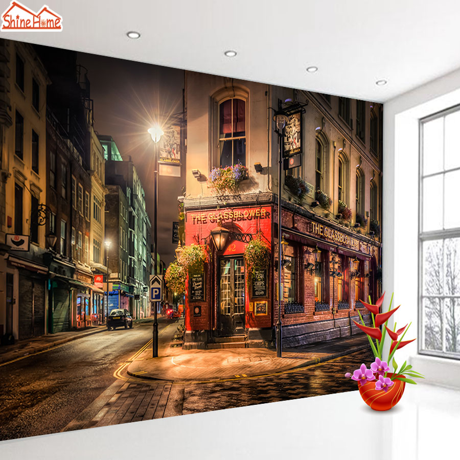 ShineHome-Old City Photo Wallpaper for 3 d Living Room London Street Wall Paper Mural Rolls Office Cafe Wallpapers TV Home Decor кроссовки reebok classics reebok classics re005awuoz64