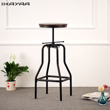 iKayaa Retro Style Bar Stool Height Adjustable Swivel Natural Pinewood Top Kitchen Dining Stool For Home US FR DE Stock(China)