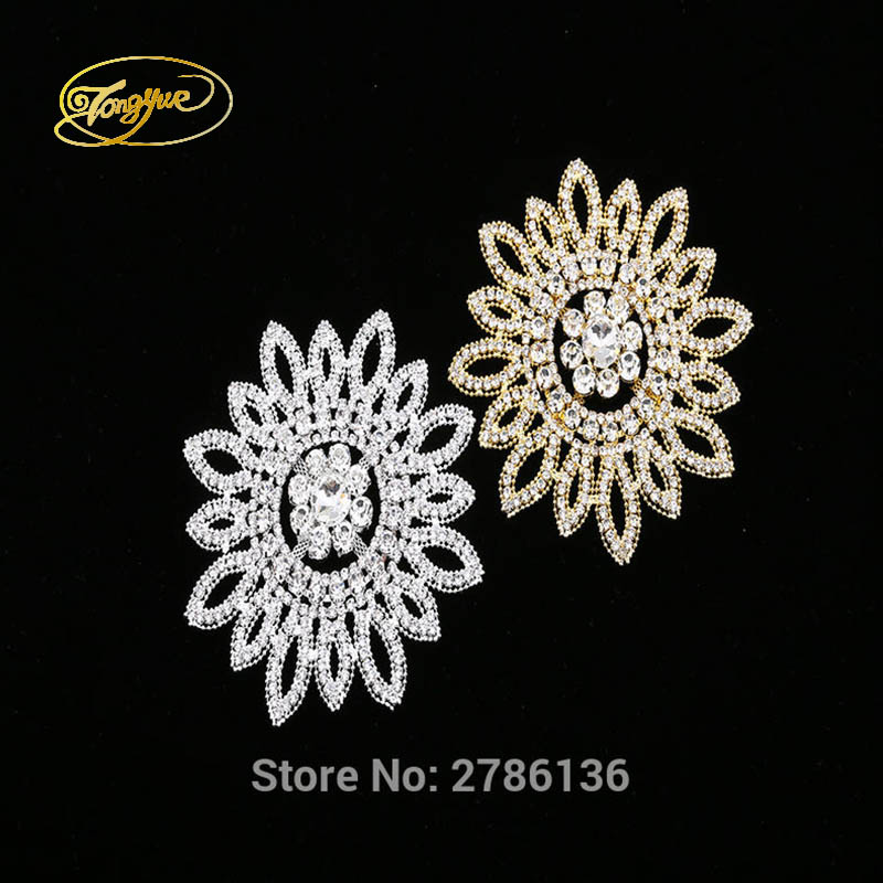 11.5 cm 1 PC silver base high quality sewing rhinestone applique hand diamond dressing
