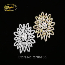 11.5 cm 1 PC silver base high quality sewing rhinestone applique hand diamond dressing