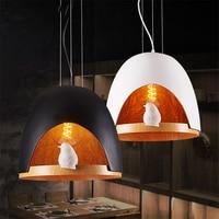 Ретро Птицы гнездо светодиодный подвесные светильники черный/золото Спальня Гостиная светодиодный Кухня обеденный бар подвесные светильн