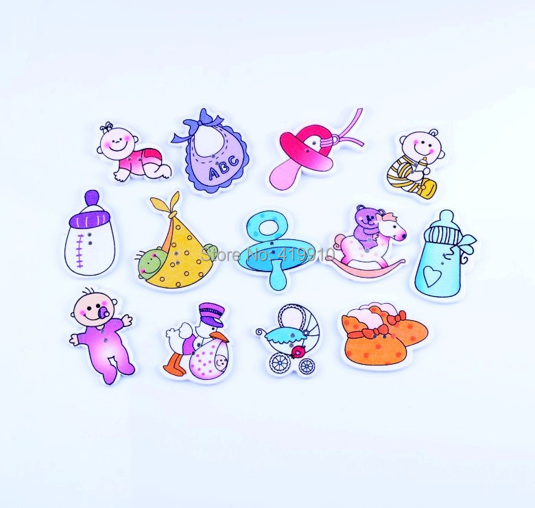 Free shipping -65pcs Random Mixed 2 Holes Pattern Lovely Baby Wood Sewing Buttons Scrapbooking D2742