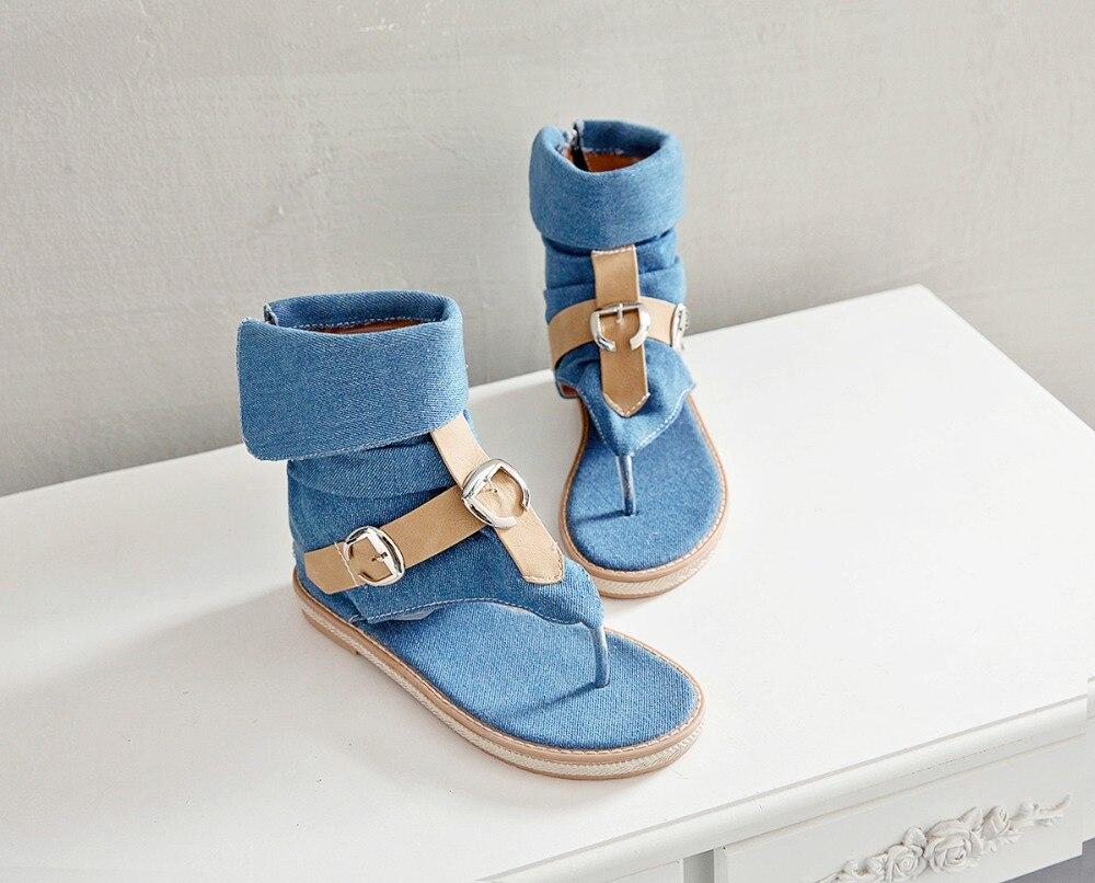 HTB10M6ELAzoK1RjSZFlq6yi4VXaA CDPUNDARI Ladies Denim Flat sandals for women Platform Sandals summer shoes woman Gladiator Sandals sandalias mujer 2019