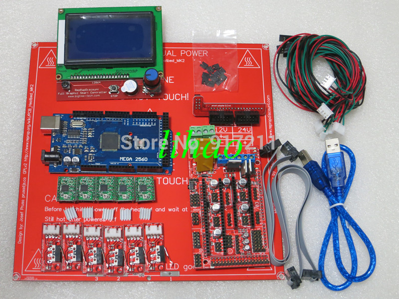 Reprap Ramps 1.4 Kit With Mega 2560 r3 + Heatbed mk2b + 12864LCD Controller + A4988 Driver + Endstops + Cables For 3D Printer