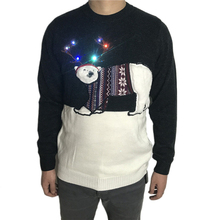 Washable Knitted Light Up Ugly Christmas Sweater for Men Funny Fluffy Polar Bear Knit Ugly Xmas Pullover Jumper Plus Size ngr ugly animals