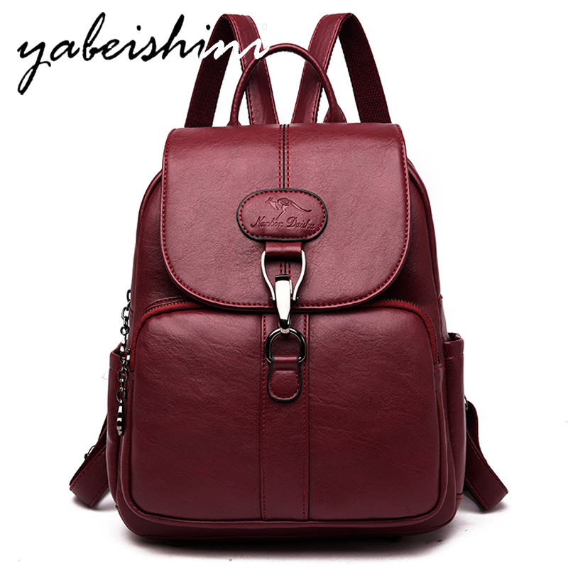 2019 Flip Cover Female Backpack Women's High Quality Leather Mochila Feminina Women's Travel Backpack Sac A Dos Femme School Bag