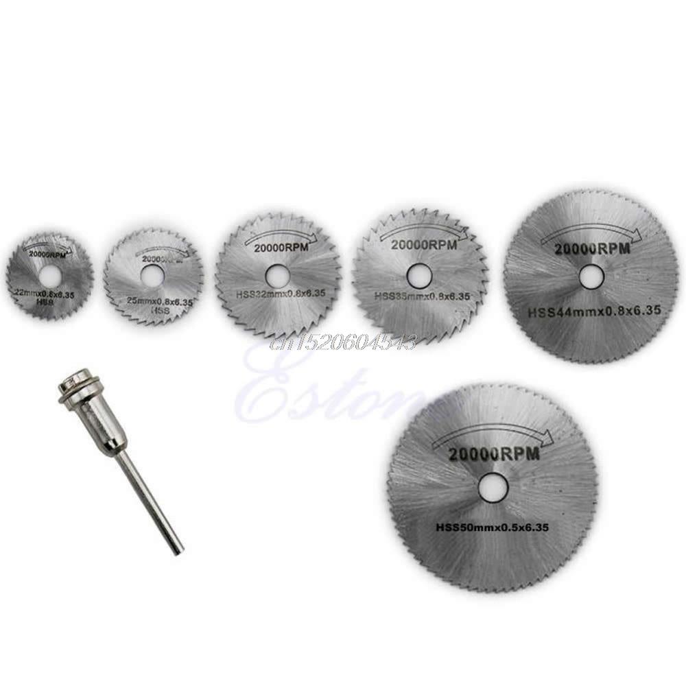 6PCS HSS Rotary Circular Saw Blades Tool Cutting Discs Mandrel For Dremel Cutoff R06 Drop Ship