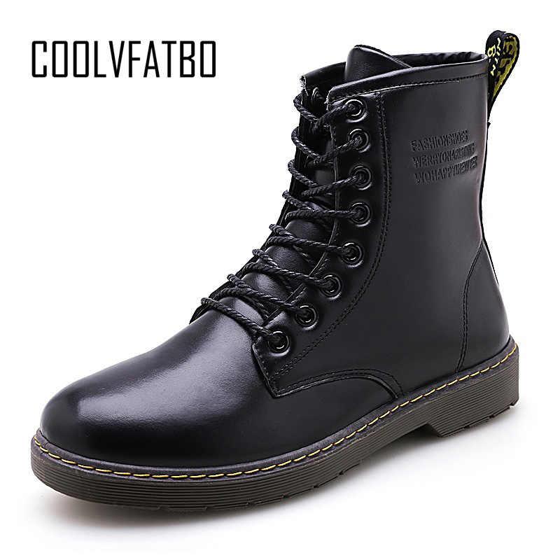 COOLVFATBO Men Boots Winter Warm Leather Martens Shoes Men Motorcycle Ankle Boots  Doc Martins Autumn Casual c09fd9d3c832