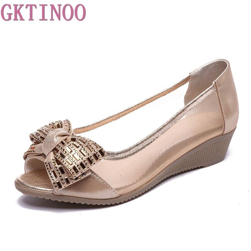 GKTINOO Женская летняя обувь босоножки из натуральной кожи женская обувь с открытым носком без шнуровки на танкетке Босоножки на платформе жен...