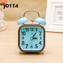 Square metal ring alarm clock childrens school bedside with