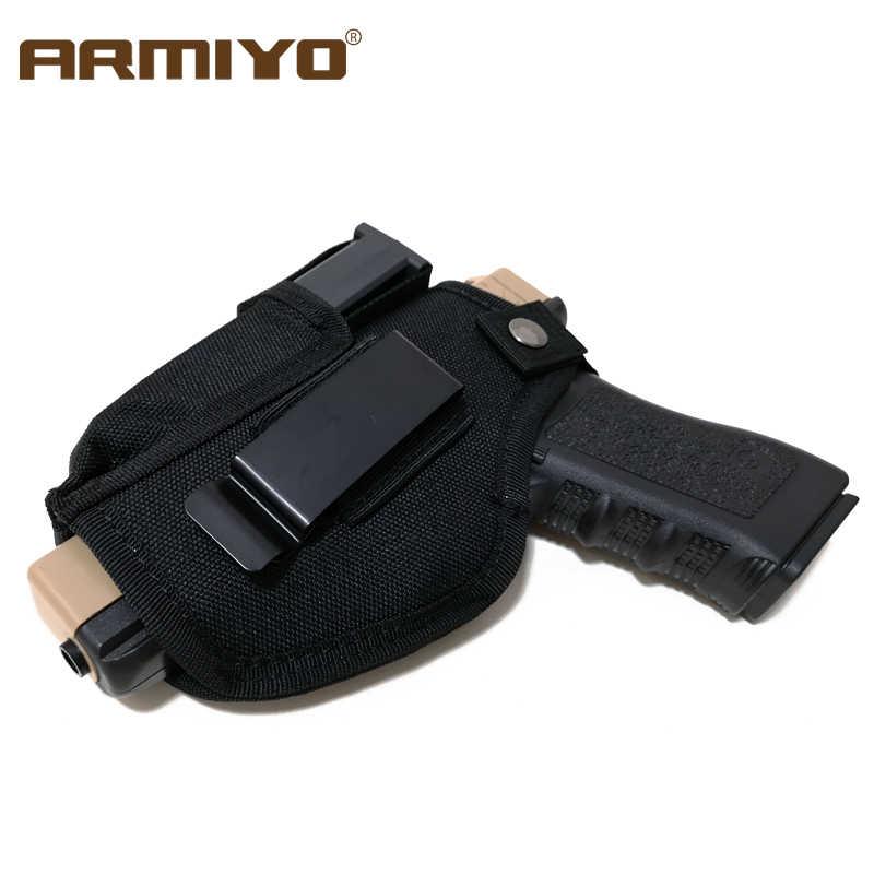 Armiyo pistola revista pistolera oculta táctica llevar cinturón Metal Clip Airsoft Nylon bolsa artículo de caza para todas las tallas pistolas