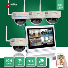 "ANRAN CCTV 4CH P2P 720P Wireless NVR 12"" LCD Monitor 30 IR Vandal-Proof Dome 1.0MP WIFI IP Camera Surveillance Security System"
