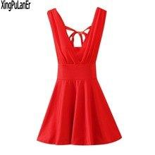 9a03346f4a846 XingPulanEr Bir Çizgi Derin V Boyun Kolsuz Beyaz Kırmızı Şifon Seksi Geri  Kısa Mini balo kıyafetleri Örgün Abiye giyim