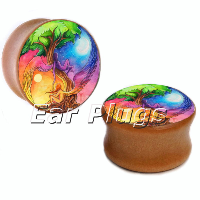 10 sizes angle sun and moon saddle plug gauges wood plugs wooden ear gauges flesh tunnel body piercing jewelry WSP0002
