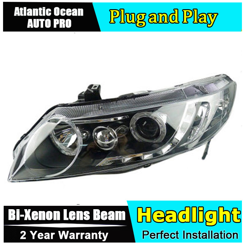 Auto Lighting Style LED Head Lamp for Honda Civic headlights 2007-2011 Civic LED angle eyes drl HID KIT LED Bi-Xenon Lens low be auto part style led head lamp for benz w163 ml320 ml280 ml350 ml430 2002 2005 led headlights drl hid bi xenon lens low beam
