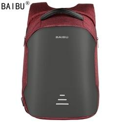 BAIBU Men Backpack Anti-theft Waterproof USB Charging Laptop Backpack Student women School Bags For Teenagers Travel Bag