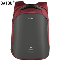 BAIBU Men Backpack Anti Theft Waterproof USB Charging Design Laptop Backpack Student Boy School Bags For