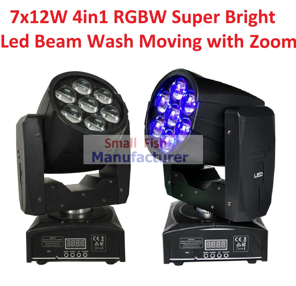 2xLot Freeshipping Professional LED ZOOM Wash Light/Beam Moving Head Light 7X12w Stage Lights RGBW 4in1 Sound Control 90V-240V ...