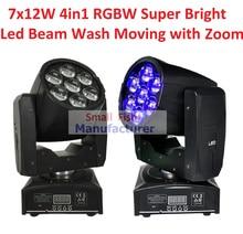 2 xLot Freeshipping Profesional LED ZOOM Luz de La Colada/Luz Principal Móvil del Haz 7X12 w Luces del Escenario RGBW 4in1 Control de Sonido 90 V-240 V