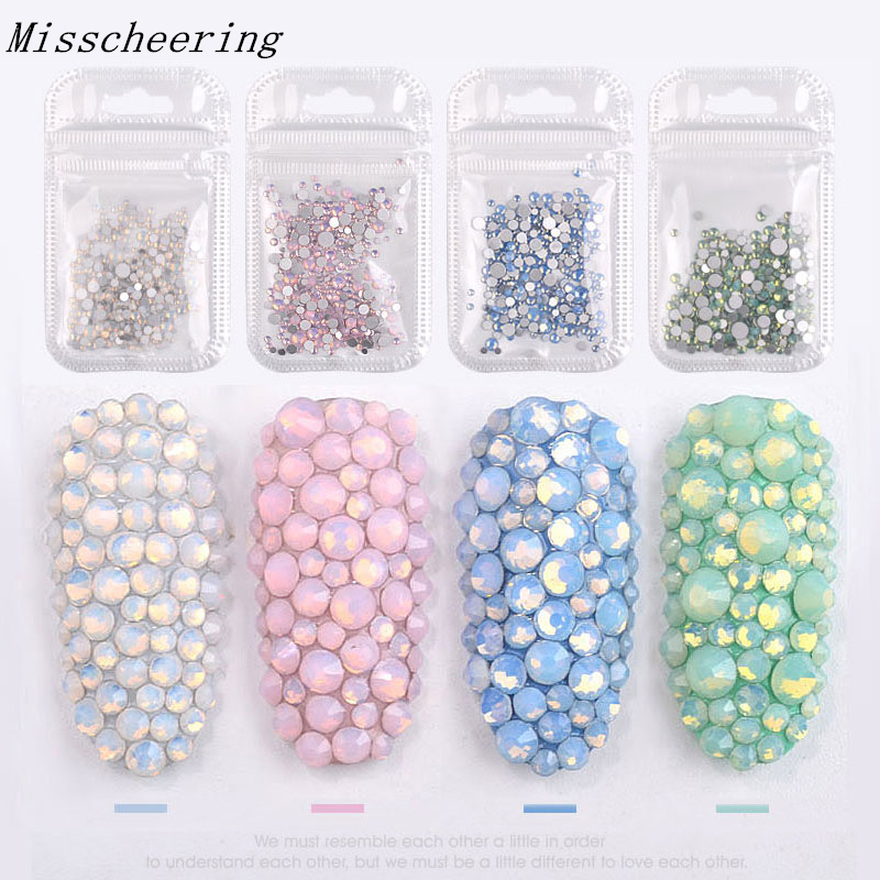 1pack Mixed Size (SS4-SS20) Crystal Colorful Opal Nail s