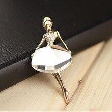 LNRRABC Hot Girls Fashion Trendy Chic Charming Beautiful Princess Ballerina Brooch Crystal Pins Jewelry Accessories