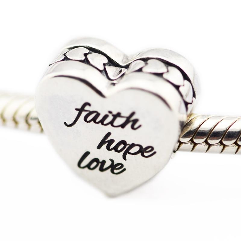 Authentic 925 Sterling Silver Jewelry Faith,Hope,Love Words Original Fashion Chamrs Beads Fits Pandora Bracelets CKK