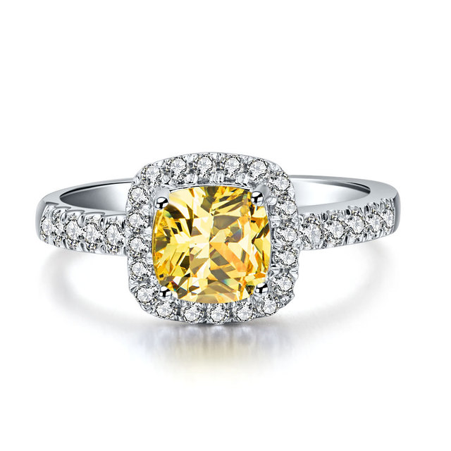 Top Sale 750 Gold Band Ring 2 Ct Cushion Cut Yellow Synthetic