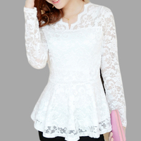 Free Shipping Autumn New Style Hollow Two Pieces White Lace Blouses Lace Blouse With Long Sleeves