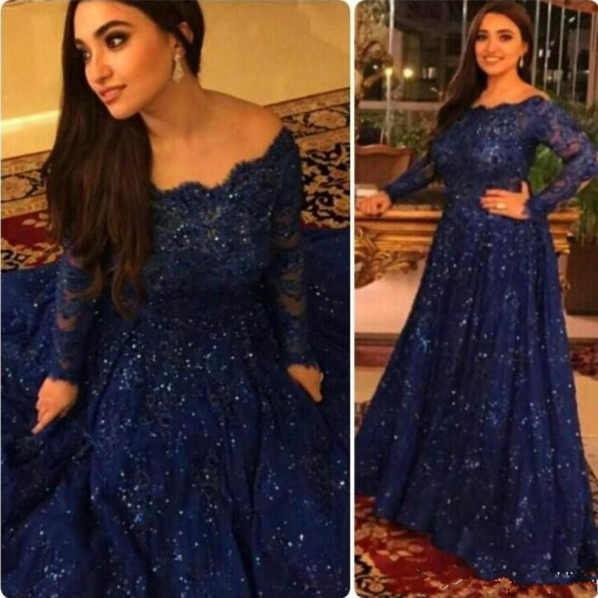 Dark Blue Muslim Evening Dresses 2019 A line Long Sleeves Lace Beaded Islamic Dubai Saudi Arabic