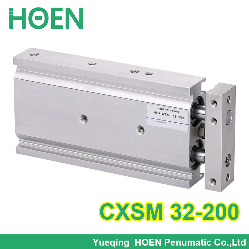 CXSM32-200 double effet double tige piston air cylindre pneumatique CXSM 32-200 32mm alésage 200mm course cylindres avec roulement à glissière