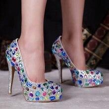 Элегантный Ручной Алмазный Свадебные Свадебное Платье Обувь Леди Мода Высокий Каблук Обуви Ночной Клуб Сверкающих Партия Танцы Пром Обувь